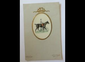 """""""Pferde, Reiter"""" 1905, Prägekarte ♥ (34675)"""
