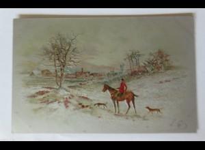 """""""Pferde, Reiter, Hund, Landschaft"""" 1905, Prägekarte ♥"""