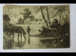 """Pferde, Landschaft, Männer"" 1909 ♥ (34687)"