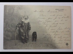 Zirkus, Clown, Bebe der Clown mit Hund, 1902 ♥ (44196)