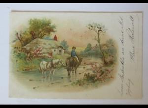 """Pferde, Bauer, Landschaft"" 1900 ♥ (34670)"