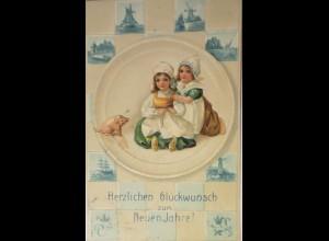 """""""Neujahr, Kinder, Schwein, Delfter Kacheln"""" 1906,Prägekarte ♥ (15481)"""