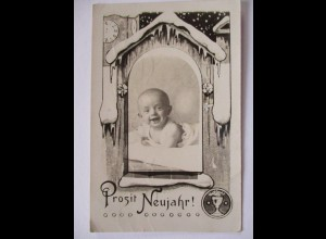 Fotokunst, Kind, Baby, Prosit Neujahr, Fotokarte