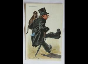 Scherzkarte, Männer, Affe, Trauermarsch, 1912, H.Hanke ♥ (31476)