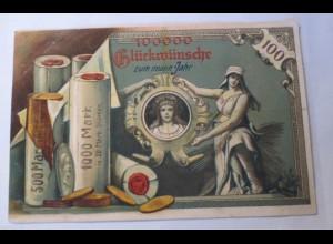 Neujahr, Geldschein, Münzen, 1913, Prägekarte ♥ (20737)