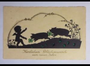 """""""Neujahr, Engel, Schwein, Kleeblatt, Glitzer"""" 1931, Scherenschnitt ♥ (45607)"""