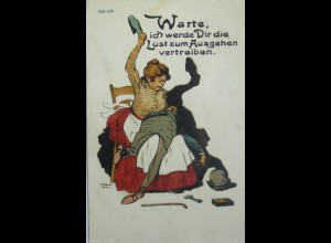 Scherzkarte, Männer, Frauen, Mode, Schläge, 1909, R. Fiebiger, Dachau ♥ (13943)