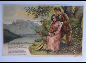 Frauen, Männer, Landschaft, Mandoline, Weserstrand, 1912, Prägekarte ♥