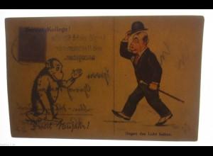 Scherzkarte, Männer, Affe 1910, Halt gegen das Licht ♥ (17839)