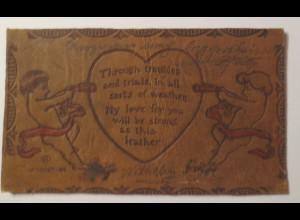 Valentinstag, Lederkarte, Engel, Herz, 1901 ♥ (20833)