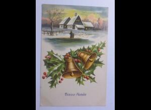 Neujahr, Winter, Dorf, Glocken, Disteln, 1909, Prägekarte ♥ (56393)