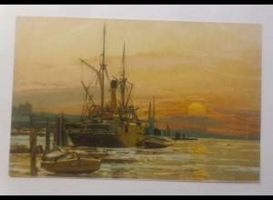 Schiffe, Segelschiff, Meer, Mond, Abendrot, 1900, Litho ♥ (70686)