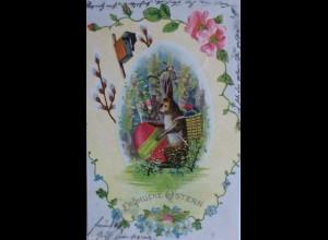 """""""Ostern, Osterhase, Korb, Ostereier, Rosen"""" 1904, Prägekarte ♥ (12889)"""