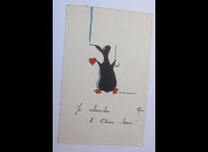 Pinguin, Herz, Rauchen, 1928, Reni ♥ (10839)