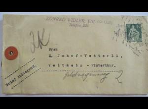 Schweiz, Warensendung Brief mit 50 rp Helvetia