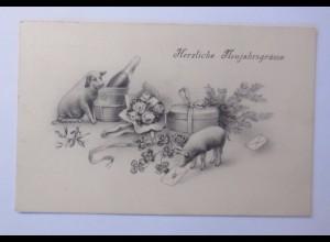 """""""Neujahr, Schwein, Sekt, Kleeblatt"""" 1917 ♥ (54305)"""