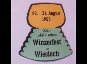 Werbung, Reklame, Vignette, Kur-pfälzisches Winzerfest in Wiesloch 1953 ♥(70029)