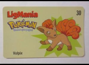 Telefonkarte, Pokemon LigMania, Vulpix, Jahr 2000 ♥