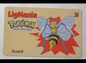 Telefonkarte, Pokemon LigMania, Beedrill, Jahr 2000 ♥