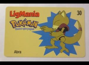 Telefonkarte, Pokemon LigMania, Abra, Jahr 2000 ♥