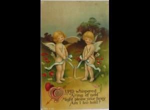 Valentinstag, Engel, Ring, Herz, Pfeil, Amor, 1909, Prägekarte ♥ (10552)
