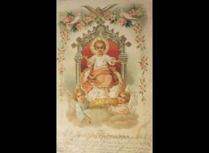 """""""Weihnachten, Heilige, Engel, Tauben"""" 1904, Prägekarte ♥ (25915)"""