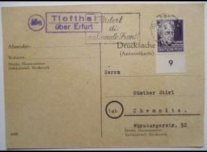 DDR, Landpoststempel Tiefthal über Erfurt 1950