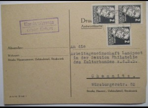 DDR, Landpoststempel Werningshausen über Erfurt 1952