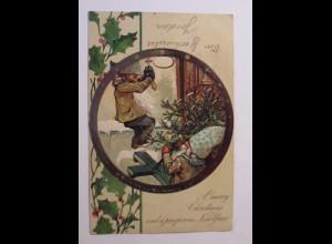 Weihnachten, Zwerge, Weihnachtsbaum, Haustür, 1900, Prägekarte ♥ (31777)