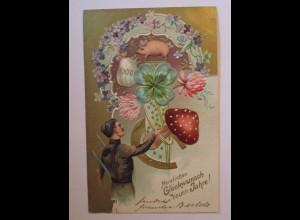 """""""Neujahr, Schornsteinfeger, Pilz, Schwein, Kleeblatt"""" 1903, Prägekarte ♥ (38500)"""