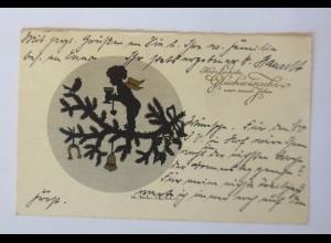 Neujahr, Engel, Vogel, Sekt, 1935, Scherenschnitt ♥ (46248)