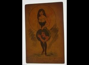 Neujahr, Frauen,Tamburin, 1900, Halt gegen das Licht ♥ (30714)