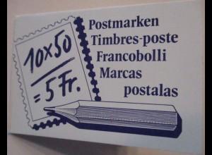 Schweiz, Markenheftchen Freimarken 1988 gestempelt
