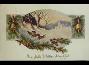 Weihnachten, Vogel, Glocke, 1910 ♥ (11024)