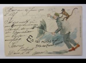 Künstlerkarte, Männer, Affe, Schirm, 1906 ♥ (46533)