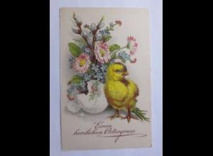 Ostern, Küken, Ei, Blumen, 1935 ♥ (59530)