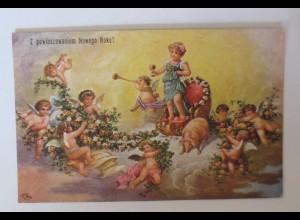 """""""Neujahr, Engel, Schwein, Blumen"""" 1910 ♥ (47385)"""