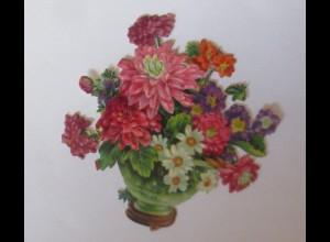 Oblaten, Vase, Blumen, 1900 8 cm x 5,5 cm ♥