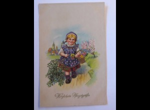 Pfingsten, Kinder, Mode, Korb, Blumen, 1917, Golddruck ♥ (41896)