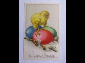 Ostern, Küken, Osterei, Weidenkätzchen, 1936 ♥ (59531)