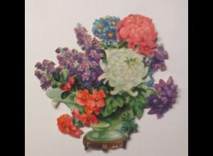 Oblaten, Blumen, Vase, 1900, 8 cm x 8 cm ♥ (28032)