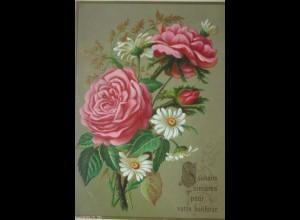 Blumen, Rosen, Mageriten, 1900, Prägekarte ♥ (13967)
