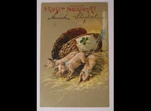 """""""Neujahr, Schwein, Korb, Kleeblatt"""" 1907, Prägekarte ♥ (38456)"""