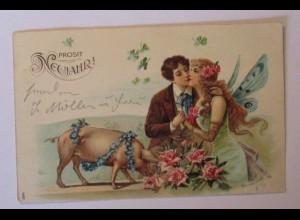 """""""Neujahr, Schwein, Männer, Elfe"""" 1907, Prägekarte♥ (38563)"""
