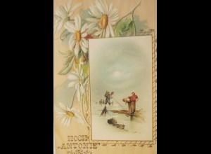 Namenstag, Margeriten, Meer, Fischer, Hoch Antonnie, 1900, Prägekarte ♥ (24368)