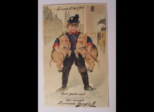 """""""Neujahr, Schwein, Postbote, Horn, Peitsche"""" 1900, Prägekarte ♥ (38348)"""
