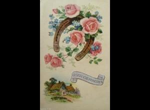 """Pfingsten, Blumen, Hufeisen, Rosen, Haus"" 1916 ♥"