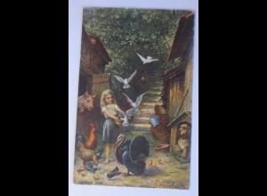 Kinder, Tiere, Bauernhof, Tauben, 1903, O. Herrfurth , Bonn ♥ (64227)