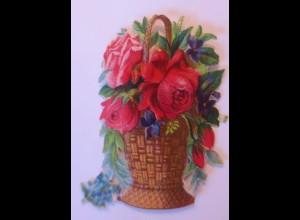 Oblaten, Korb, Blumen, 1900 8 cm x 7 cm ♥ (23994)
