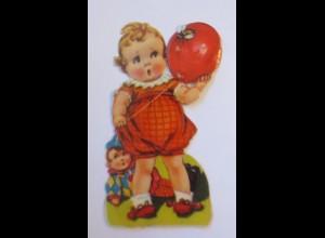 Oblaten, Kinder, Luftballon, Puppe, Biene, 1900, 11 cm x 6 cm ♥ (41088)